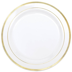 "Premium 7-1/2"" Plastic White Plates w/Metallic Gold Trim 