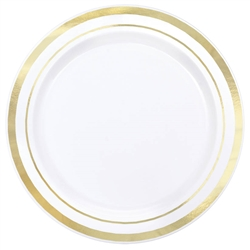 "Premium 6-1/4"" Plastic White Plates w/Metallic Gold Trim 