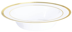 Premium 12oz Plastic White Bowls w/Metallic Gold Trim | Party Supplies