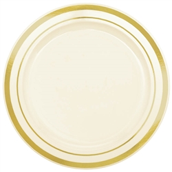 "Premium 6-1/4"" Plastic Cream Plates w/Metallic Gold Trim 