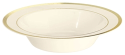Premium 12oz Plastic Cream Bowls w/Metallic Gold Trim | Party Supplies
