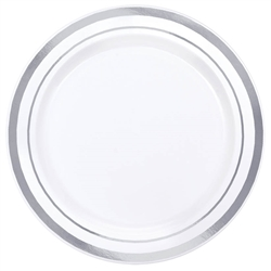 "Premium 6-1/4"" Plastic White Plates w/Metallic Silver Trim 