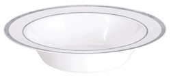 Premium 12oz Plastic White Bowls w/Metallic Silver Trim | Party Supplies