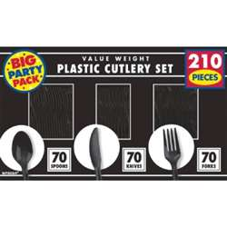 Jet Black Plastic Set | Party Supplies