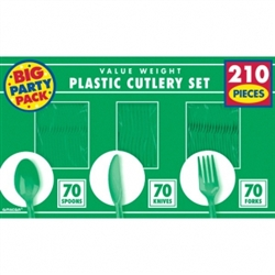 Festive Green Cutlery Assortment - 210ct | Party Supplies