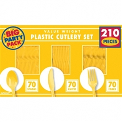 Yellow Sunshine Cutlery Assortment - 210ct | Party Supplies