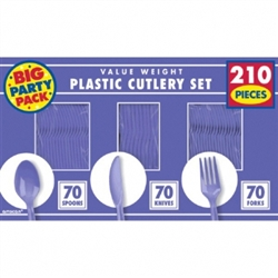 New Purple Cutlery Assortment - 210ct | Party Supplies