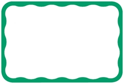 Green Border Adhesive Name Tags | Party Supplies