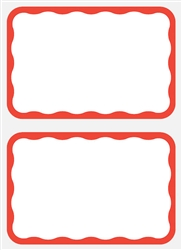Red Border AdhesiveName Tags | Party Supplies
