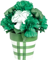 Carnation and Shamrock Glitter Floral Centerpiece | St. Patrick's Day Decorations | Party Supplies