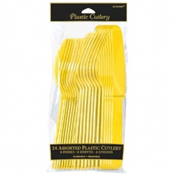 Yellow Sunshine Cutlery Assortment - 24ct | Party Supplies