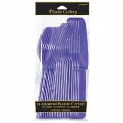 New Purple Cutlery Assortment - 24ct | Party Supplies