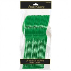Festive Green Plastic Spoons - 20ct | Party Supplies