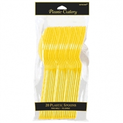 Yellow Sunshine Plastic Spoons - 20ct | Party Supplies
