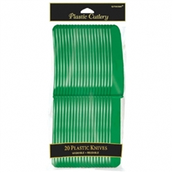 Festive Green Plastic Knives - 20ct | Party Supplies