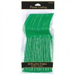 Festive Green Plastic Forks - 20ct | Party Supplies