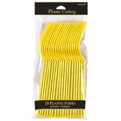 Yellow Sunshine Plastic Forks - 20ct | Party Supplies