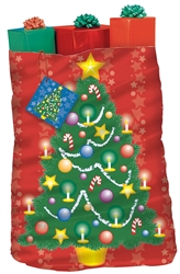 Christmas Tree Giant Plastic Gift Sacks | Party Supplies
