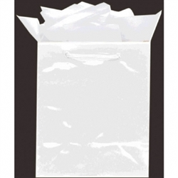 White Mini Solid Glossy Bags | Party Supplies
