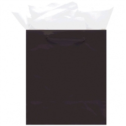 Black Mini Solid Glossy Bags | Party Supplies