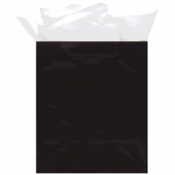 Black Medium Solid Glossy Bags | Party Supplies