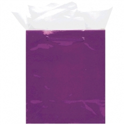 Purple Medium Solid Glossy Bags | Party Supplies