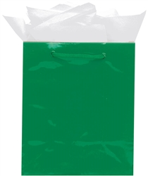 Green Jumbo Solid Glossy Paper Bags | Party Supplies
