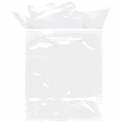 White Jumbo Solid Glossy Bags | Party Supplies