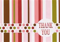 Pink Party Stripe Thank You Cards | Party Supplies