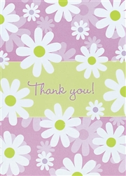 Daisy Stripe Thank You Card | Party Supplies