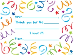 Streamers Thank you Cards | Party Supplies