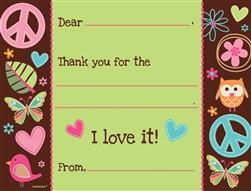 Hippie Chick Fill-In Thank You Cards | Party Supplies