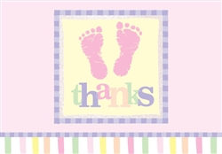 Footprints - Pink Thank You Cards | Party Supplies