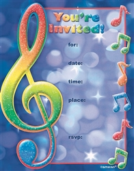 Music Notes Glitter Theme Party invitation | Party Supplies