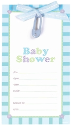 Blue Safety Pin Fill-In Invitation | Party Supplies