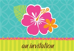 Hibiscus Splash Fill-In Invitations | Party Supplies