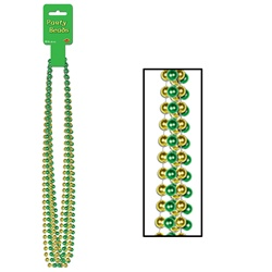 Green & Gold Party Beads - Small Round