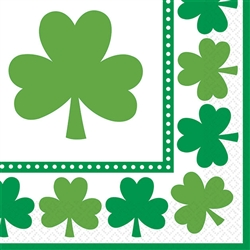 Lucky Shamrocks Beverage Napkins | St. Patrick's Day Tableware