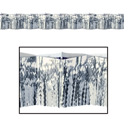 Silver 2-Ply FR Diamond Metallic Fringe Drape