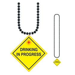"Beads with Flashing ""Drinking In Progress"" Medallion"