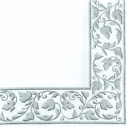 White with Silver Trim Beverage Napkins - 24ct. | Party Supplies