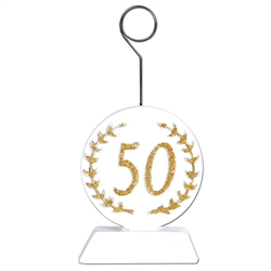 "Gold Glittered ""50"" Photo/Balloon Holder"