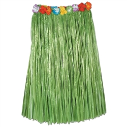 Adult Artificial Grass Hula Skirt with Floral Waistband