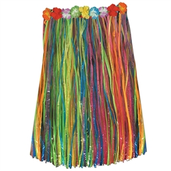 Multi-Color Adult Artificial Grass Hula Skirt with Floral Waistband