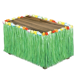 Artificial Grass Flowered Table Skirting