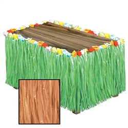 Natural Artificial Grass Flowered Table Skirting