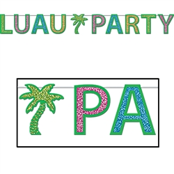Glittered Luau Party Streamer