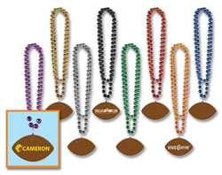 "33"" Custom Imprinted Football Medallion Beads"
