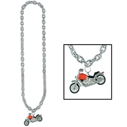 Silver Chain Beads with Chopper Medallion