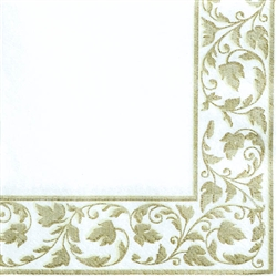 White with Gold Trim Beverage Napkins - 24ct. | Party Supplies
